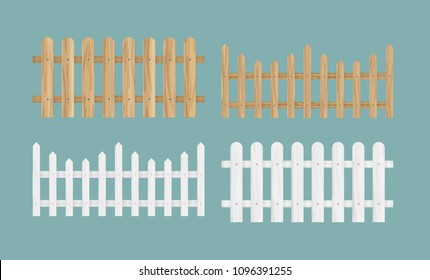 Vector illustration set of the different wood fences in natural color texture and white color.