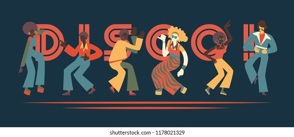 Vector illustration set of disco dancing people with retro clothes and hairstyles in flat cartoon style isolated on dark background with sign. Party or nightclub dancers in 70s fashion style.