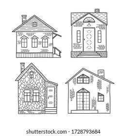 Vector illustration of a set of Doodle-style houses isolated on a white background. One-story architecture. Concept of a residential building. Buying, selling and renting real estate. Outline.