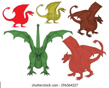 Vector illustration set of dragon. Isolated.