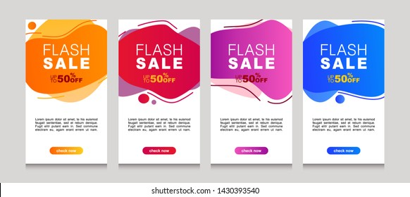 Vector Illustration Set of Dynamic modern geometric and fluid mobile for flash sale banners. Special offer and sale discount up to 50% template design with editable text.