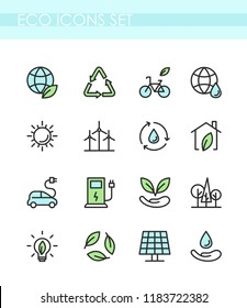 Vector illustration set of eco icons. Ecology concept, green technology, organic, healthy lifestyle, alternative energy, electrocar.