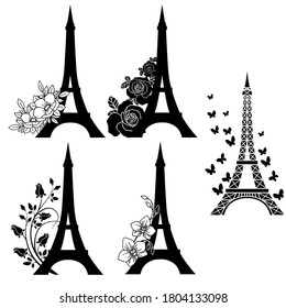 vector illustration, set of eiffel towers with flowers, template, ornament for tattoo, isolate on a white background