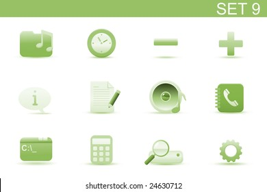 Vector illustration ? set of elegant simple icons for common computer and media devices functions. Set-9