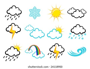 Vector illustration set of elegant Weather Icons for all types of weather