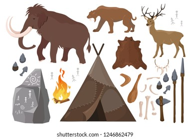 Vector illustration of set of elements of stone age people life. Primitive man lifestyle, anicent animals. Ice age. primitive Collection of weapon. Mammoth, saber-toothed tiger and deer, tent made