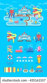 Vector illustration set elements water park, outdoor, with slide, entertainment, fountain, slide in flat style to info graphic