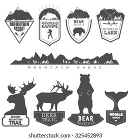 Vector illustration of a set of emblems related to wilderness trips and vocations in simple style