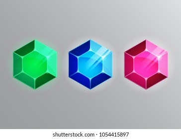 Vector illustration set of emerald ruby and sapphire gems on gray background