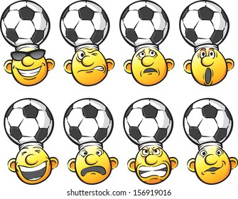 Vector illustration of set of emotion soccer fan heads. Easy-edit layered vector EPS10 file scalable to any size without quality loss. High resolution raster JPG file is included.