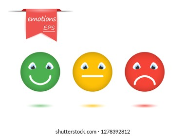 Vector illustration set of emotions. The concept of evaluation in faces and color emoticons, positive, neutral, negative. Design elements on isolated white background.