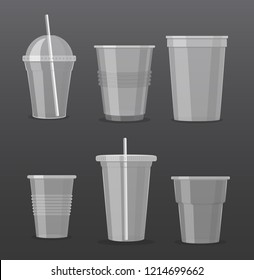 vector illustration set of empty transparent plastic disposable cups isolated on dark grey background. Takeaway drink glasses collection.