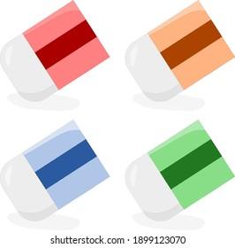 Vector illustration set of an eraser used in school