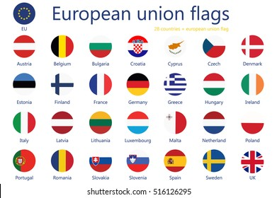 Vector illustration  set of european union flags with names. 29 flags+ eu flag.