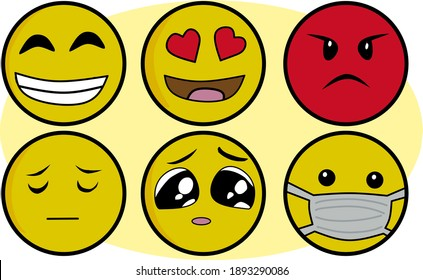 vector illustration, a set of face shapes or emojis, emoticons. for a banner logo or a children's drawing book
