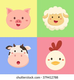 vector illustration set of farm animal head in colorful background