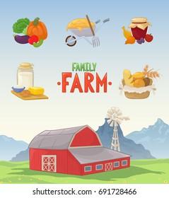 vector illustration farm barn color cartoon stock vector royalty