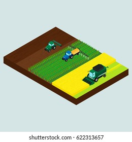 Vector illustration. Set of farmer icons. Tractor on the field - plowing, sprinkles, combine harvests wheat. System of plant cultivation. Isometry, 3D.