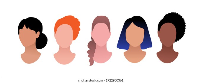 Vector illustration set of female profile pictures faceless avatars isolated on white background.