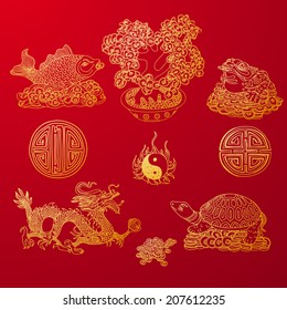 Vector illustration set with Feng Shui motives. Dragon, frog, fish and money tree