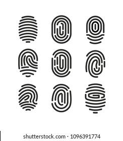 Vector illustration set of fingerprint icons on white background in minimalist style.