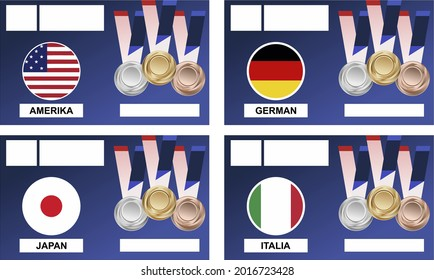 vector illustration, set of flags, America, japan, germany, italy in combination with medals, gold, silver, bronze isolated dark blue background. sports event poster.pringsewu, Lampung; July 30, 2021.