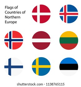 Vector illustration. Set of flags of Northern Europe countries. Estonia, Norway, Latvia, Lithuania, Iceland, Finland, Sweden, Denmark.