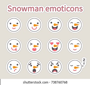 Vector illustration: set of flat 12   facial features of snowman with different emotions  for your cartoon character design isolated on creamy background.