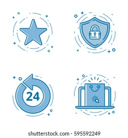 Vector illustration set of flat bold line icons with star - favorite sign, shield - web security, 24 7 , laptop white screen. Graphic design concept of e-commerce. Blue outline isolated object.