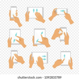 Vector illustration set of flat hand icons showing commonly used multi-touch gestures for touchscreen tablets or smartphones, fingers touch screen and move by blue color arrows showing direction of