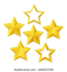 Vector illustration, set of flat metallic golden stars isolated on white background.