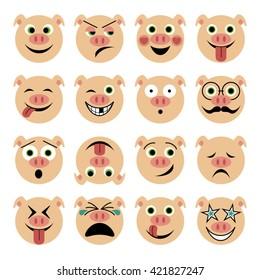 vector illustration set of flat pig emoticons