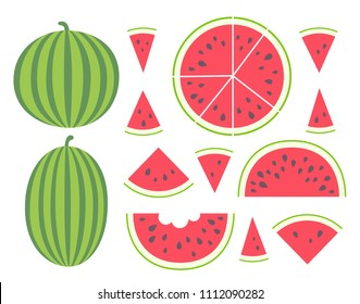 Vector illustration: set of flat red cone, semicircle, circle watermelon pieces and entire watermelons icons with black seeds and green striped peel and tooth bites  isolated on white background