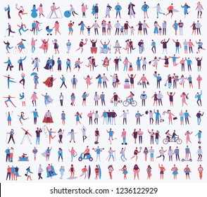 Vector illustration set in a flat style of different activities people in all seasons- autumn, winter, summer and spring