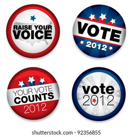 Vector Illustration of a set of four 2012 election buttons.