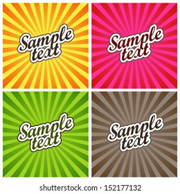 Vector Illustration: Set of Four Backgrounds with Colored Sun Rays for Label Design