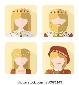 Vector illustration: set of four flat characters - The Royals: king, queen, prince and princess
