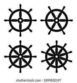 Vector illustration set of four ship steering wheel icons - Black symbols isolated on white