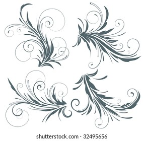 Vector illustration set of four swirling flourishes decorative floral elements