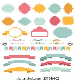 Vector illustration of a set of frames, pennants, page dividers and other design elements for scrapbook and decorations