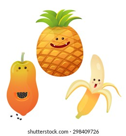 A vector illustration of a set of fruits characters # peeled banana, pine apple, papaya