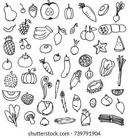 vector illustration set of fruits and vegetables doodle drawn in black outline on white background