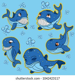 vector illustration of a set, funny big cubs fish whales with air bubbles, the background is isolated, exhibit different emotions in the underwater world