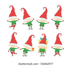 Vector illustration: Set of Funny  christmas santa claus elf. Cartoon characters isolated on white background.