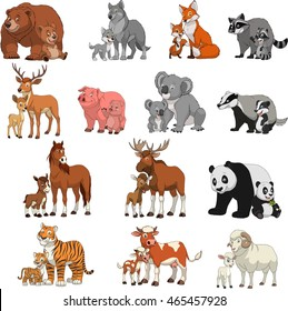 Vector illustration set of funny exotic animals, children and parents