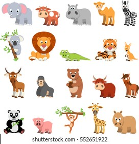 Vector illustration vector set of funny exotic animals on a white background