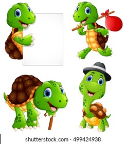 Vector illustration of  Set of funny turtle on a white background