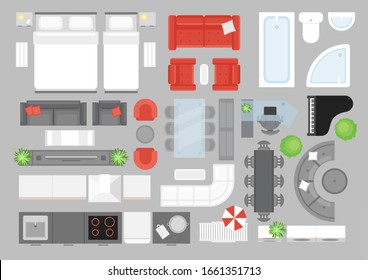 Vector illustration set of furniture top view. Design elements for interior design. Flat interior top view icons collection. Living room, bathroom, bedroom furniture set.