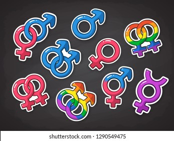 Vector illustration set of gender symbols. Icons of men, women, heterosexuals, transgender, gay and lesbian. Symbols of gay and lesbian in rainbow color. Gender relationships. Stickers with contour