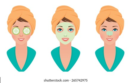 Vector illustration set girl with clay mask on her face with a mask of cucumber and cleans pores strip/Set girl with clay mask on her face with a mask of cucumber and cleans pores strip/Vector set